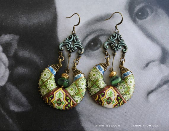 Earrings Portugal Tile  Chandelier Azulejo Antique Ilhavo, Green and Brown Portuguese Persian Gift Box Included Bohemian Ships from USA