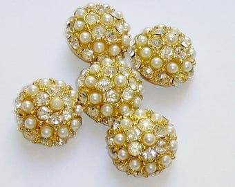 Vintage Domed Buttons, Rhinestones and Faux Pearls, Metal Shanks, Set of 5 Matching 7/8""