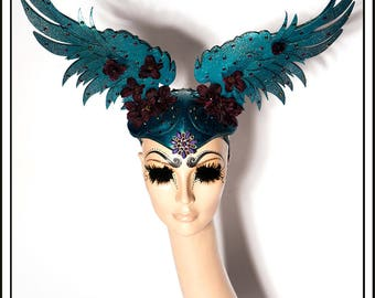 Night Blossom… Wings In Dark Blue Turquoise With Flowers Rhinestones Jewels Headdress