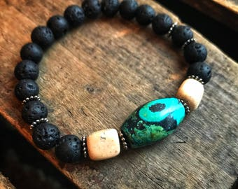 Lava stone grain stone, and turquoise gemstone beaded stretch bracelet- gift for her