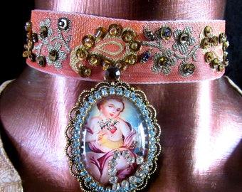 Catholic Child Sacred Heart of Jesus Colonial-Style Pendant Religious Handmade Jacquard Ribbon Choker Necklace
