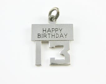Vintage Wells Happy Birthday 13th Sterling Silver Charm