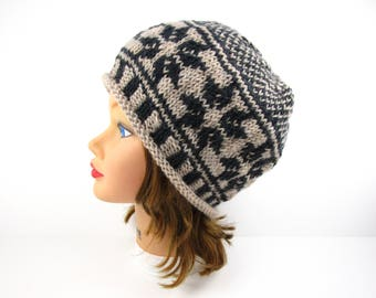 Fair Isle Beanie - Women's Knit Hat With Rolled Brim In Mercury And Natural Mix - Wool Headwear - Ski Hat - Knit Accessories