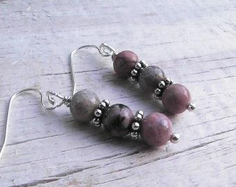 rhodochrosite gemstone earrings jewelry.