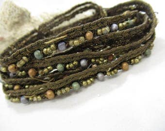 Antique Bullion Trim with beads 50+ inches Sewing Supplies