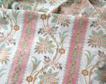 "Antique Cotton Fabric Jacobean Floral Curtain Panel Remnant France late 1800's 68"" x 21"""