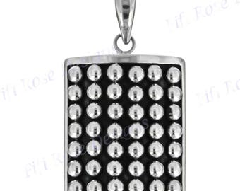 """1 5/8"""" Heavy Dotted Bali Artisan Granulation Style 925 Sterling Silver Pendant"""