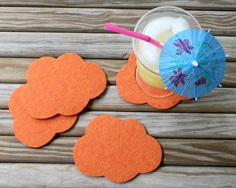 Cloud Wool Felt Coasters Cute Coaster Set of Coasters Unique Fun and Absorbent Coasters for Drinks