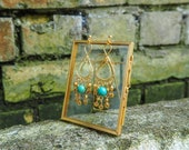Turquoise, Gold Beads, Dangling, Chandelier Earrings