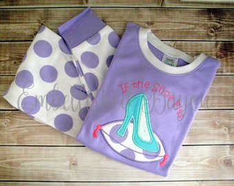 SALE!! Personalized Appliqued Short Sleeve Pajamas, Lavender or Yellow Polka Dot for Girls size 2T
