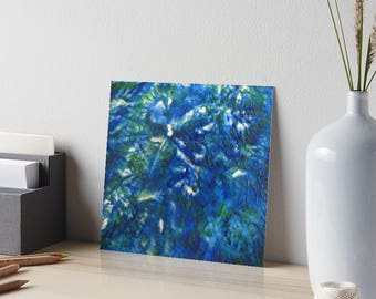 Encaustic Blue Green Texture Art Board / Art for Small Spaces / Collectible Small Format Art / Made to Order in 3 Sizes