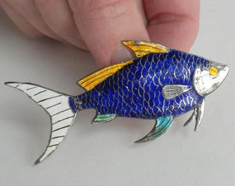 SUMMER SALE Large Sterling Silver and Enamel Fish Brooch