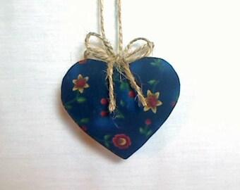 Navy Heart Ornament | Valentine's Day | Spring Decor | Party Favor | Birthday | Tree Ornament | Holiday Decoration | Handmade Gift | #3