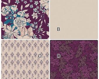 Baby Bedding Crib Set Cream Blush Purple Violet Merlot Vintage Floral