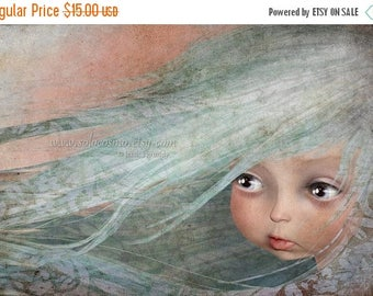 "50% Off SALE Little Girl with Baby Blue Hair Sweet Child Print ""Winter""  Art 8.5x11 or 8x10 Giclee Print of Original digital Painting"