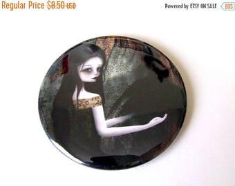 "50% Off SALE Pocket Mirror ""Lenore"" 2 1/4"" Round Compact Mirror - Edgar Allen Poe The Raven - Gothic Lolita Woman and Black Bird"