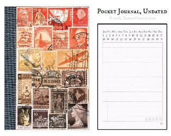 Sunset Travel Diary Notebook • Orange Brown Stamp Art Collage