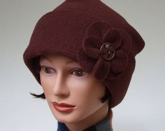 Cozy Fleece Hat for Women, Roll up Cuff, Chocolate Brown with Pin On Flower, Slouchy with Vintage Button, M to XL