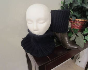 Black Hand Knit Boot Cuffs Boot Topper With Matching Cowl