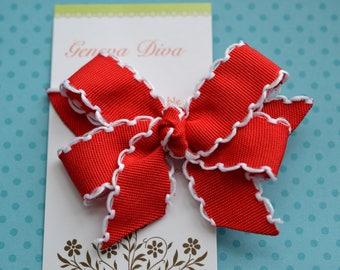 Red with White Crochet Edge Mini Diva Bow