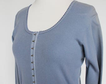 80's Blue Knit Shirt / Corset Style Hook & Eye Front / Moda Int'l / Small to Medium