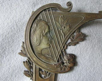 c1890s Antique Art Nouveau Medallion with Lady, Cherub & Lyre