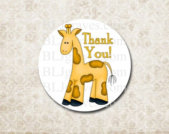 Baby Shower Thank You Stickers Boy Girl Giraffe Blue Pink Yellow Envelope Seals Party Favor Treat Bag Sticker SB021