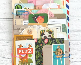 Bumper Variety Paper Pack for Junk Journaling Scrapbooking Planners Vintage and New Paper Ephemera Kit with Tags Envelopes Vintage Cards