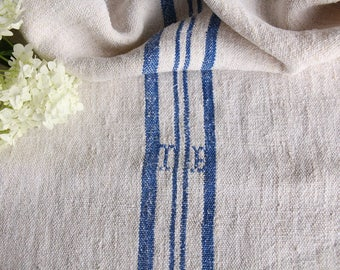 EP 346 A: antique handloomed faded SWEDISH Blue ; grainsack pillow cushion runner 40.94 long wedding, french lin,decoration, spring, vintage