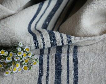 E 466: antique handloomed BLACKBERRY BLUE ;grainsack, pillow, cushion, runner, 45.67 long,upholstery project,french lin,decor