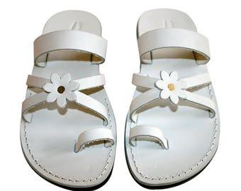 CLEARANCE SALE - VIOLET Flower-Cross Leather Sandals for Men & Women - Euro # 40 - Handmade Unisex Sandals, Genuine Leather Sandals, Sale
