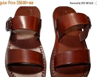15% OFF Brown Buckle-bio Leather Sandals For Men & Women - Handmade Unisex Sandals, Flip Flop Sandals, Jesus Sandals, Genuine Leather Sandal