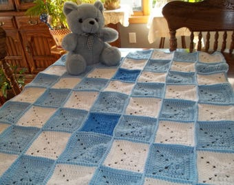 Baby Afghan, Blanket Crocheted in Blues and White, Baby Blanket, Christening Blanket, Boy Blanket, Baby Afghan,