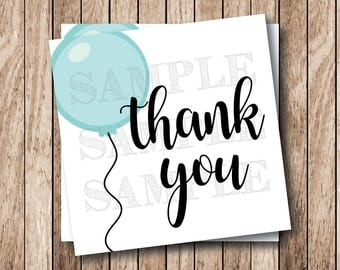 Instant Download . Printable Thank You Tags, Blue Balloon Thank You Tags, Printable Thank You Balloon Tags