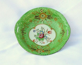 Vintage Handpainted China Bowl Small Hand Painted Dish Japan 6 Inch Green Cut Handles Nut Candy Plate Desk Dresser Coin Catch All