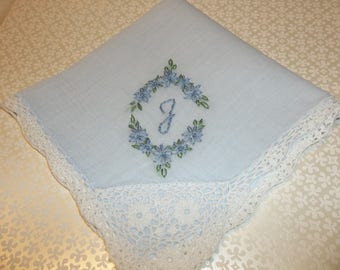 bride's something blue, wedding handkerchief, oval design, hand embroidered, blue fabric hanky, bridal gift, blue for bride, gift for bride