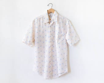 vintage 70s mens shirt, 1970s cherry print and stripes white button up, short sleeve mens shirt, mens large