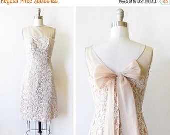 20% OFF SALE 60s lace dress, vintage 1960s lace wiggle dress, champagne lace cocktail dress, extra small/xs - AS Is