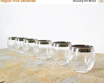 20% OFF SALE silver roly poly shot glasses, mad men style shot glasses, 60s barware