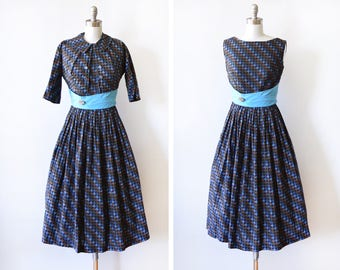 50s dress set, vintage 1950s dress with jacket, black and blue houndstooth dress, full skirt with bolero, small s