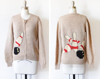 vintage bowling sweater, 1950s cardigan, 50s Mary Maxim Cowichan sweater, wool knit zip up sweater, extra small to small