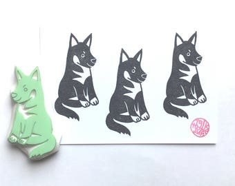 german shepherd  rubber stamp. puppy dog stamp. animal hand carved stamp. pet stamp. birthday crafts. gift wrapping. gift for dog lovers
