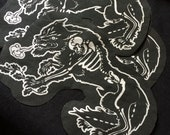 "Werewolf patch - 8"" x 5"" see or glue on - wolf goth skeleton unique metal art for vest jacket hoodie"