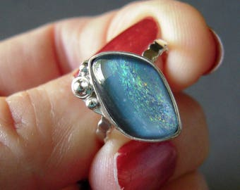 Australian Opal Ring, Size 7 1/2, Australian Opal Triplet, Sterling Silver Hand Forged Ring, Unique Opal, OOAK Gemstone Ring