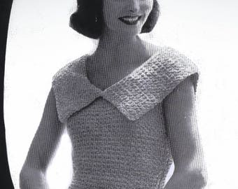 Vintage PDF Crochet Pattern Crocheted Blouse Bust Size 32 to 36 Inches 1950's Instant Download Digital e-Pattern Download