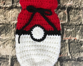 Pokemon card holder, drawstring bag, red and white, dice bag, gamer, geeky,