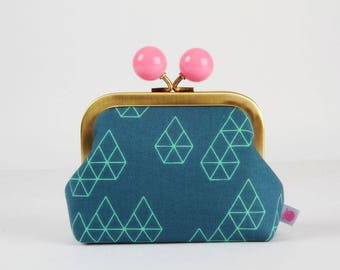 Metal frame coin purse with color bobble - Geo drops in teal - Color dad / Japanese fabric / mint green yellow pink / Cotton and Steel