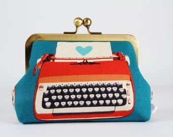 Retro frame purse - Retro typewriters in blue and red - Trip purse / Japanese fabric / Melody Miller / Vintage inspiration / heart