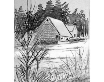 Winter Barn Pencil Drawing, DIGITAL DOWNLOAD Print, Winter Landscape Sketch, Winter Snow Scene, Pencil Sketch, Sketchbook Art, Winter Barn