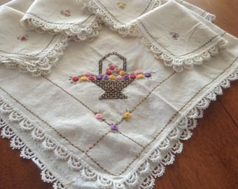 Vintage Embroidered Slubby Linen Table Cloth and Napkins, Flower Basket, Lace Trim